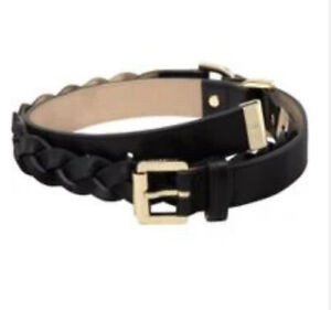 MULBERRY Genuine, black plaited leather belt with Gold Hardware. New With Tags.