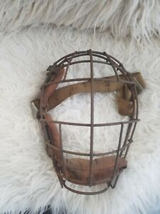 Antique vintage baseball umpire catchers mask leather and metal cage
