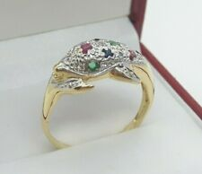 18ct Gold Multi Gemstone Dolphin Ring set with Sapphires Rubies Emeralds Dia's