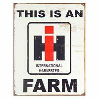 International Harvester Farm Farmall Tractor Barn Retro Vintage Metal Tin Sign