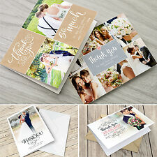 Personalised Folded Wedding Thank You Cards with Photo + Envelopes