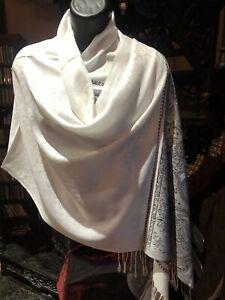Vintage Style Blanc Noir Pashmina Cachemire Châle Écharpe