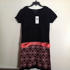 Derek Heart Girls SZ L 14 Sweater Dress w Matching Scarf Black Spark & Coral NWT
