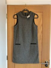NEXT Women's Collar Neck Black & White Tweed Style Above Knee Dress Size 8 - NEW