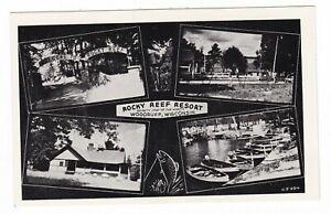 c1950 WOODRUFF WISCONSIN ROCKY REEF RESORT TROUT LAKE BOATS VITNAGE POSTCARD WI