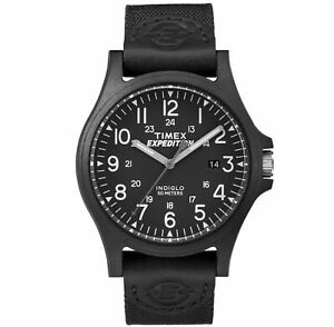 "Timex TW4B08100,Men's ""Expedition Metal Field"" Black Fabric Watch, Indiglo, Date"