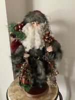 """VINTAGE Country Lodge Rustic SANTA CLAUS TABLE TOP CHRISTMAS DECOR 17"""" TALL 90'S"""
