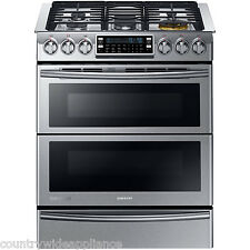 "Samsung Stainless 30"" Dual-Fuel Slide-In Range with Flex Duo Door NY58J9850WS"