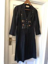 Rutzou Black Textured Cotton Embroidery & Beads Luxury Vintage Boho Dress,40/14