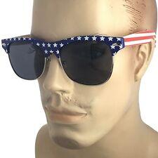 USA American US Flag Sunglasses Classic Club Master Half Frame Patriot Retro Men