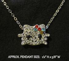 Crystal Cat Kitten Necklace Steel Chain