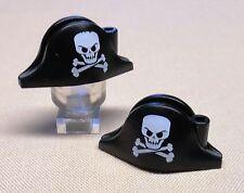 x2 NEW Lego Pirate Minifig Hats Black Bicorne w/ Large Skull Crossbones Pattern