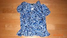 NWT Lauren Ralph Lauren Ladies sz Large Blue Sleeve Frilly Top Pretty Blouse
