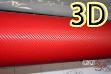 3D Fibre De Carbone Rouge Vinyle Wrap Feuille Autocollant Film 1,27 m (50in) x0.3 m (11.8 in)