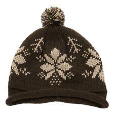 Brown Snowflake Roll Up Beanie Pom Pom Warm Winter Ski Hat Cap Skull Beanies