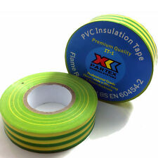 5 ROLLS OF GREEN/YELLOW ELECTRICAL PVC INSULATION TAPE 19mm x 20m EARTH
