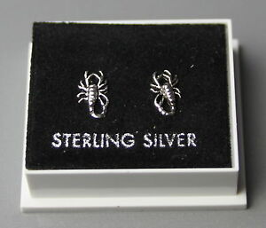STERLING SILVER 925, STUD EARRINGS WITH BUTTERFLY BACKS, SCORPION DESIGN,  ST 60