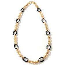 "24"" LONG Technibond Byzantine Onyx Necklace 14K Yellow Gold Clad Silver 925"