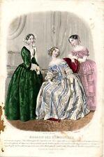 Stampa antica moda LA CONVERSAZIONE 1853 Old Print Fashion Engraving