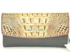 Brahmin Checkbook Wallet Modern Toasted Brown Embossed Leather New NWT $225