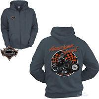 Jacke Zip Biker Motorrad Sweat-Shirt custom Hoodie Vintage MotorBike *4098