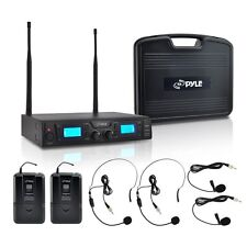 NEW Pyle PDWM3365 2 Channel UHF Wireless Microphone System 2 Lavalier 2 Headsets