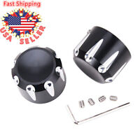 Black CNC Cut Front Axle Cap Nut Covers Fit For Harley Dyna Softail Electra Road Glide