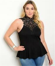 NEW..Sassy Plus Size Black Peplum Top with High Crochet Neckline..Sz16/1XL