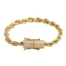 14k Gold Finish Rop Link Bracelet Simulated Diamond Box Lock Stainless Steel 6mm