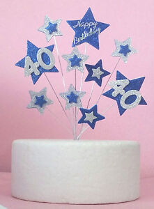 Blue & Silver Glitter Star Cake Topper & Any Age 1st 2nd 18th 21st 40th 50th +