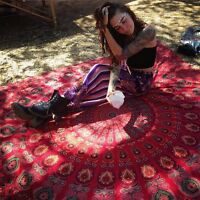 Psychedelic Red Mandala Tapestry Hippie Wall Hanging Indian Beach Blanket Ethnic