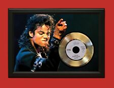 "MICHAEL JACKSON WOOD FRAMED GOLD 45 RECORD DISPLAY FREE US SHIPPING ""C3"""