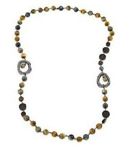 "Joyce Williams TIGERS EYE Beads WOOD Beads and Faceted Smoky Quartz 40"" NECKLACE"