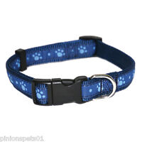 ROSEWOOD ADJUSTABLE NYLON DOG PUPPY COLLARS BLUE WITH LIGHT BLUE PAWS WAG'N'WALK