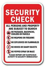 Security Check All Persons & Property Are Subject To Search.. Heavy Gauge Signs