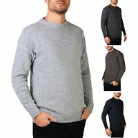 Mens Soft Wool Knitted Round Crew Neck Warm Jumper Sweater Grandad Pullover Top