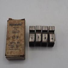 """Set of Ridgid 1-1/2"""" inch 12-R Pipe Threader Die Set Vintage w/ Box"""