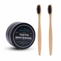 Activated Coconut Charcoal Teeth Whitening Powder Bamboo Toothbrush Toothpaste
