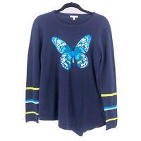 Lisa Todd Butterfly Sweater Womens Size Medium Navy Blue Long Sleeve Cotton