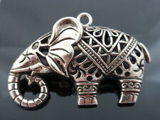 1 x Large Filigree 3D Hollow Elephant Pendant in Antique Silver 52mm x 34mm  LF