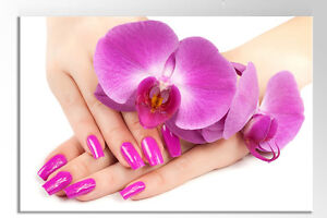 "LARGE 36 X 24"" FREE P&P SALON PURPLE NAILS FLOWERS CANVAS WALL ART PICTURE PRINT"
