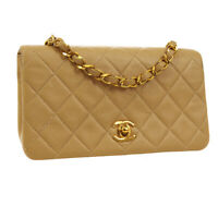 CHANEL Quilted Full Flap Single Chain Shoulder Bag 1619423 Beige Leather 02960