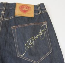 Mens ED HARDY by Christian Audigier Button-Fly Jeans Dark Size 34x32