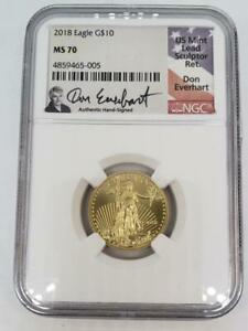 2018 US 1/4 ozt Gold Eagle $10 NGC MS70 Don Everhart hand signed L9990