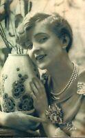 Portrait of a lady RPPC postcard antique real photograph Art Deco vase