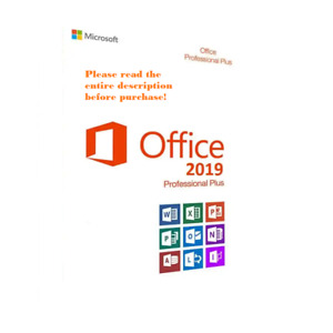 Microsoft Office 2019 Professional Plus 1 PC Install Genuine License w/ Disk