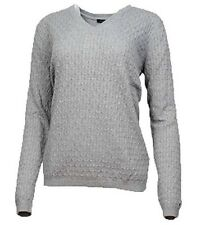 TOMMY HILFIGER Women's V Neck Knit Sweater - GRAY - XL