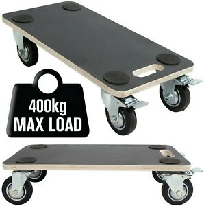 400kg Hand Dolly With Brakes Furniture Mover Trolley Cart Wooden Moving Platform