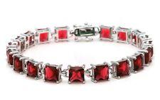 24CT Princess Cut Garnet .925 Sterling Silver Bracelet