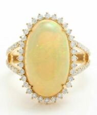 8 CT Ethiopian Opal and Diamonds in 14K Solid Yellow Gold OVER Women Ring